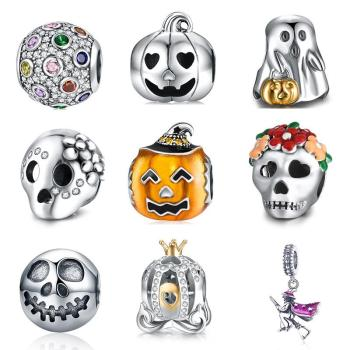 DALARAN Halloween Charms Sterling Silver 925 Ghost Pumpkin Bead Fit Original Pandora Charm Bracelet & Necklace Women DIY Jewelry choruslove jack o lantern charms authentic 925 sterling silver pumpkin coach carriage beads fit pandora halloween diy bracelet