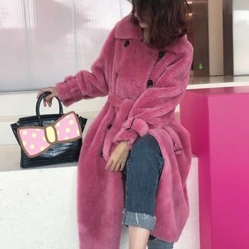 30% Women Real Wool Fur Coat Warm Autumn Winter Sheep Wool Fur England Style Double Breasted Sashes Oversize Coat Winter jacket faux fur double breasted coat