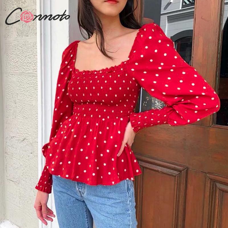 Conmoto Ruffles Elegant Vintage Blusas Women Party Polka Dots Red Blouse Shirts Square Collar Femme Retro Twist Blouses