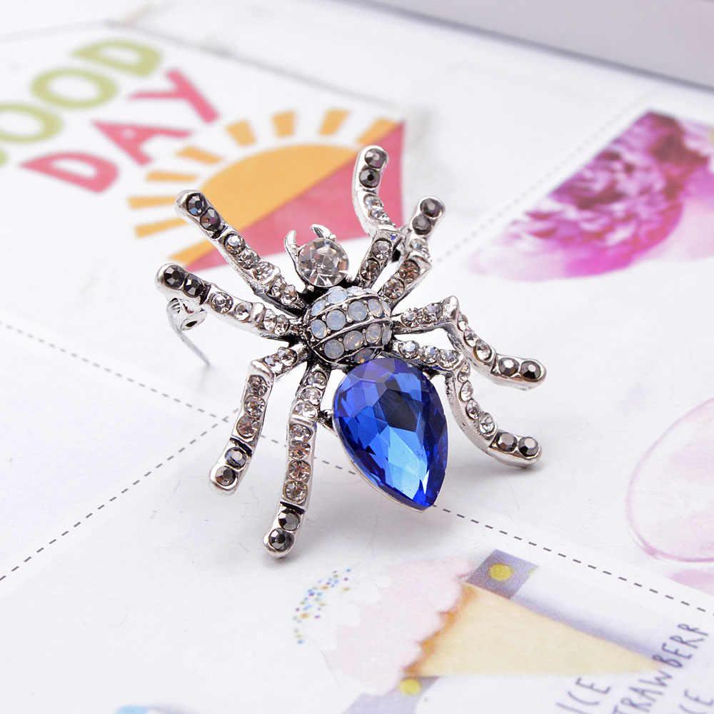 YoungTulip สีฟ้าคริสตัลแมงมุมเข็มกลัดออกแบบใหม่แมลง PIN unisex เข็มกลัดเสื้อเครื่องประดับคุณภาพสูงเข็มกลัดของขวัญ