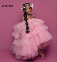 Sweet Pink Strapless Soft Tulle Flower Girls Dresses With Zipper Back Girls Wedding Party Dress Lovely Little Girls Dresses