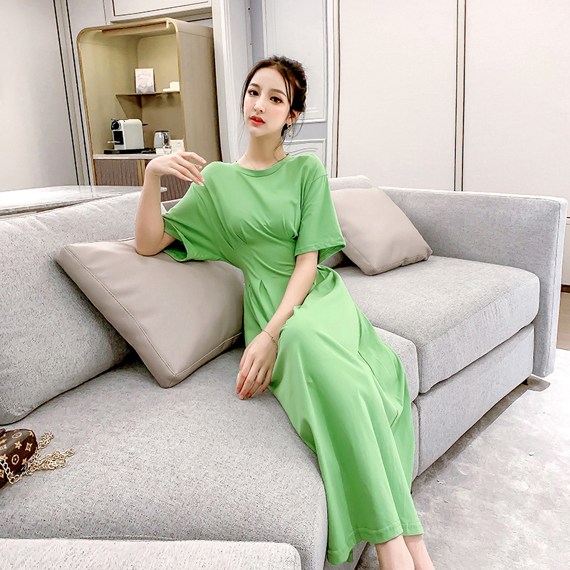2019 Summer New Style Fashion WOMEN'S Dress Elegant French Hipster Short Sleeve Avocado Green Dress