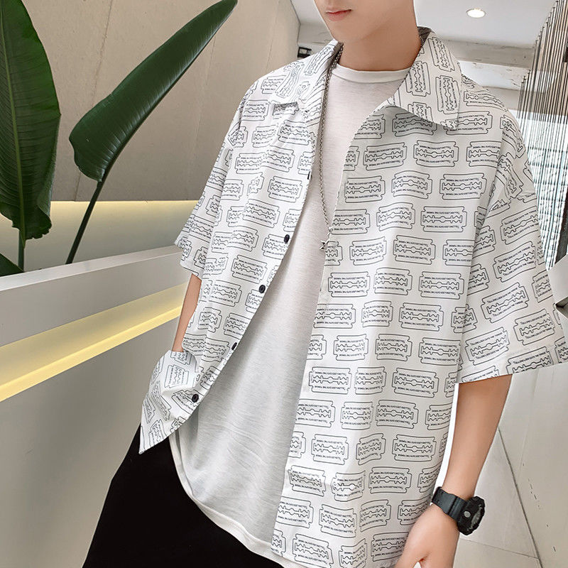 EWQ / <font><b>men's</b></font> wear Personalized printing half sleeve <font><b>shirt</b></font> male's fashionable <font><b>oversize</b></font> loose causal <font><b>korean</b></font> <font><b>style</b></font> tops 2020 9Y2742 image