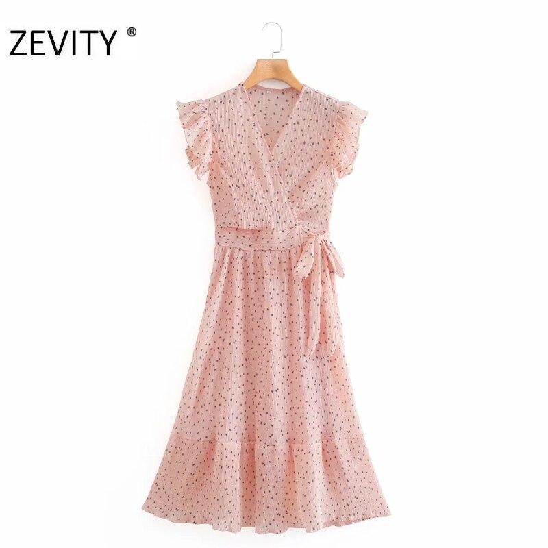 ZEVITY women elegant cross v neck polka dot print pleated dress lady pleated ruffles side zipper vestido chic bow dresses DS4281