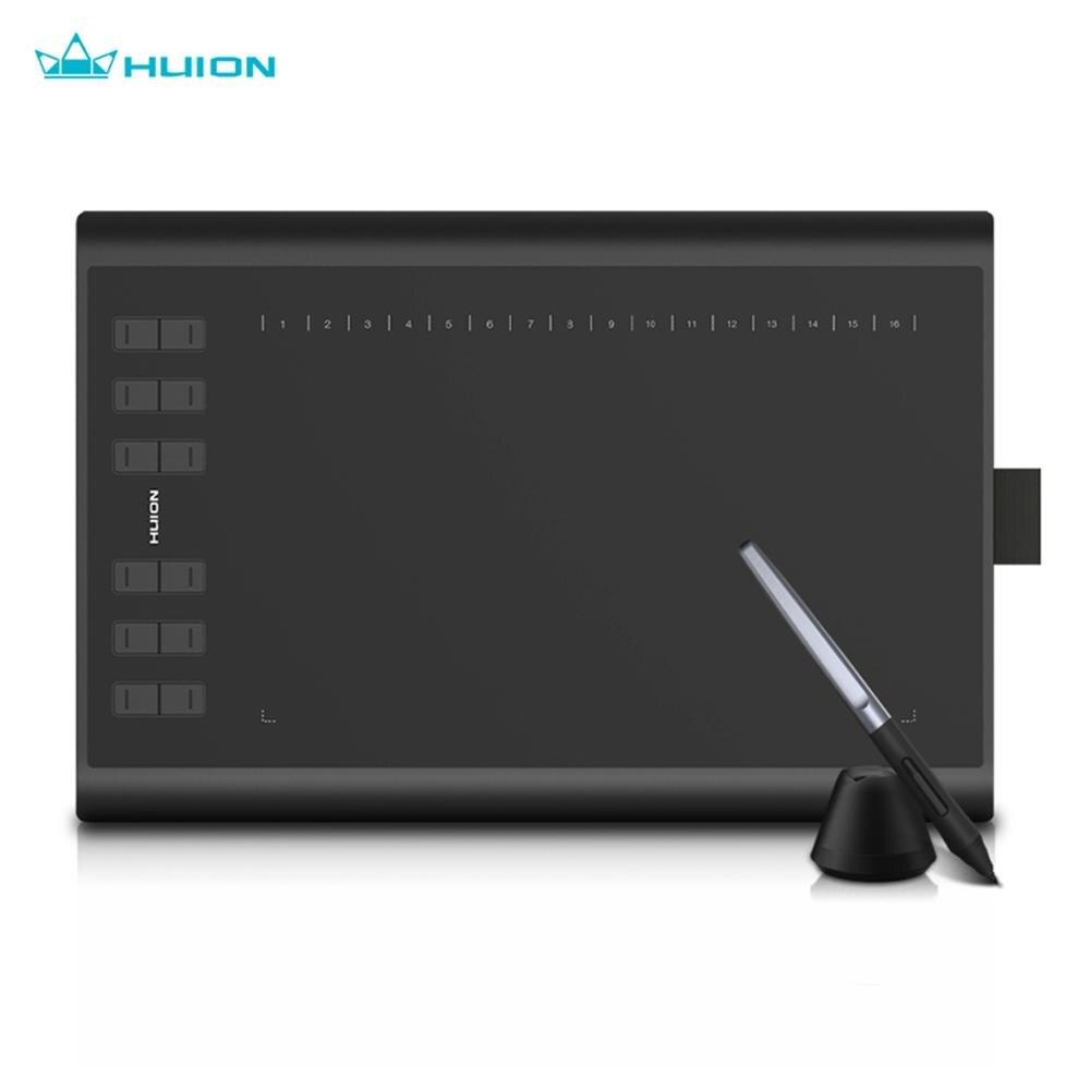 Графический планшет HUION H1060P для рисования, безбатарейный стилус, наклон ± 60 °, цифровой планшет, 8192 нажатие ручки, 12 быстрых клавиш, OTG адаптер