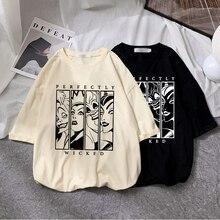 Camiseta de moda masculina e feminina da disney maleficente harajuku cartoon ursula impressão de manga curta casual adolescente streetwear topo