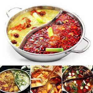 Duck-Pot Hotpot 2-Grip 2-Taste 2-Compartments 34cm Mandarin Stainless-Steel Kitchen Thicken
