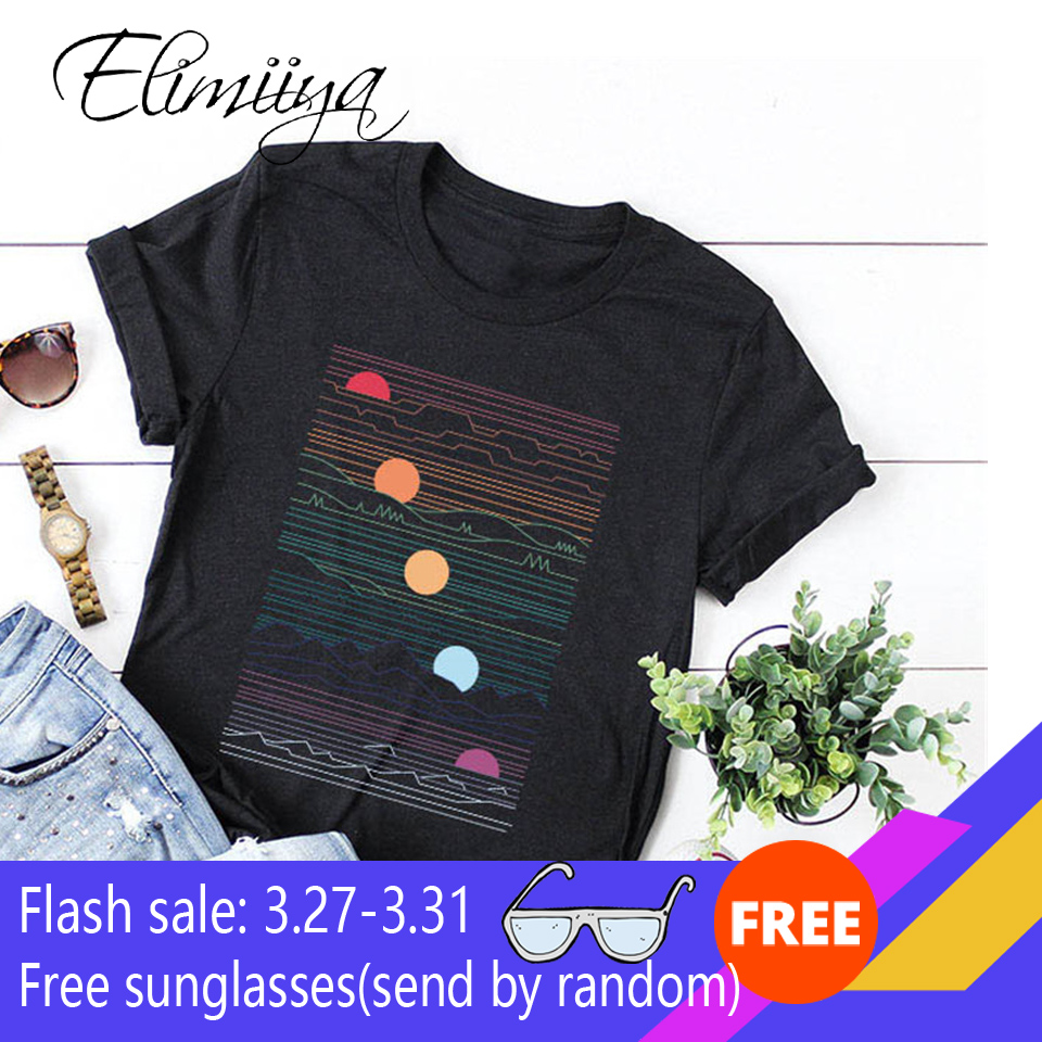 Elimiiy Abstract T Shirt Women Oversized Print T-shirt Short Sleeve O-Neck  Womens Clothing  Ladies Tops Tees 2020 Summer Top
