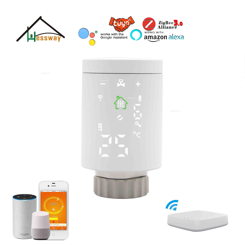 HESSWAY IVR Tuya Smart Zigbee Wireless Water Valve Radiator Thermostat For Zigbee Wifi Gateway Support