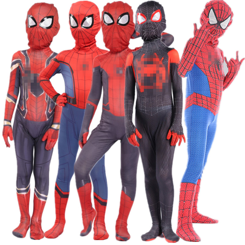 Child Superhero Spider Boy Costume Cosplay Bodysuit Wear Clothing With Mask Carnival
