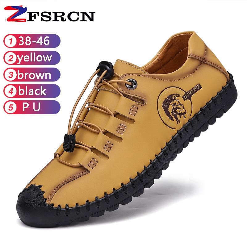 New men's casual shoes large size shoes flat shoes light hand made 46 size comfortable khaki men's beanie shoes driving shoes|Men's Casual Shoes| |  - title=