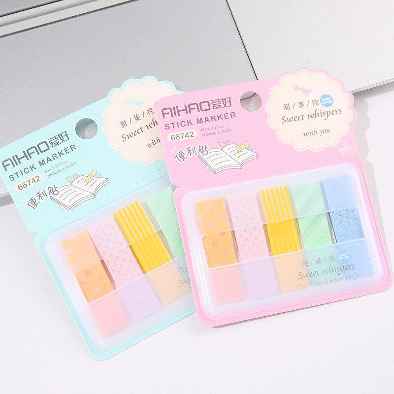 Aihao arc-en-ciel bonbons couleur bâton marqueurs livre Page Index drapeau Notes collantes signet bureau fournitures scolaires papeterie