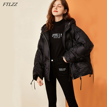 FTLZZ New Ultra Light Winter Down Short Jacket Women White Duck Down Coat Warm Snow Hooded Parka Loose Drawstring Bread Outerwea