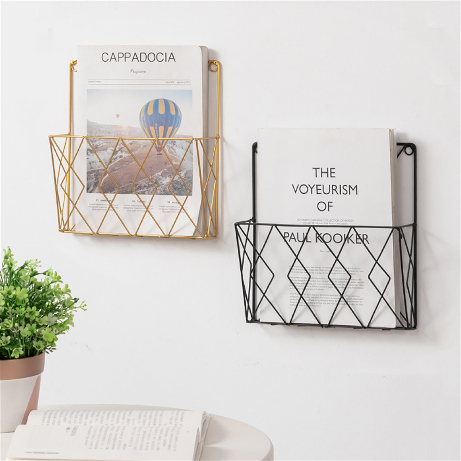 Modern Metal Wrought Iron Wall Shelf Home Bedroom Study Wall Creative Metal Book Stand Desktop Decoration Decoration Home