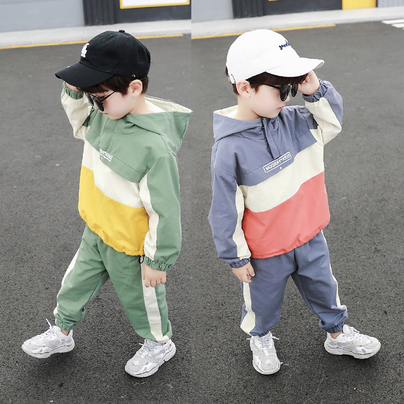 Boys Clothes Set Kids Boutique Clothing Children Toddler Outfits Cotton Patckwork Windbreaker + Joggers 2 to 11 Years