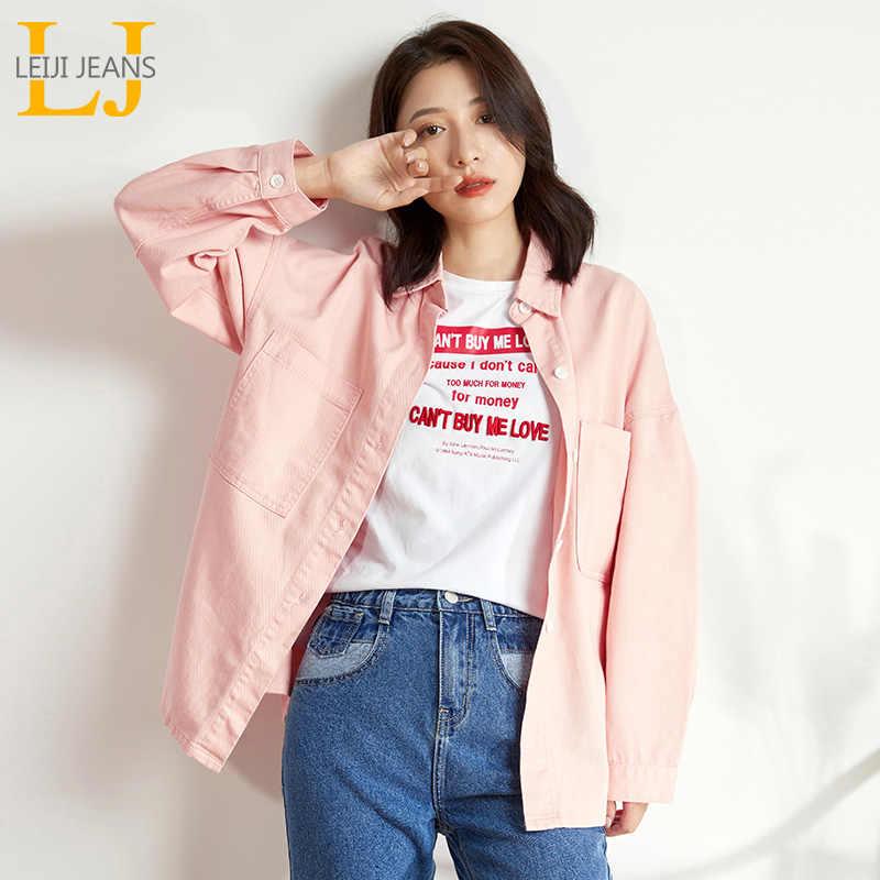 LEIJIJEANS 2019 סתיו בתוספת גודל נשים של ג 'ינס loose התיכון חולצת ג' ינס מעיל ג 'ינס ורוד ילדה אופנה ארוך חולצה מעילים 9140