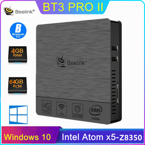 Beelink BT3 Pro II Mini PC x5-Z8350 Quad Core 4GB + 64GB double fréquence 2.4/5.8GHz WiFi BT4.0 Smart TV Box prend en charge Windows 10(China)