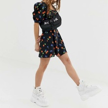 Mini  Dress Women  Printed Cherry Square Collar With Zipper Puff Sleeve A-line Summer Dresses For Girls vintage cherry halterneck a line dress for women