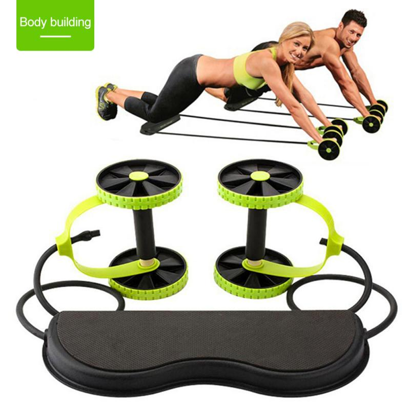 Abdominal Wheels Roller Trainer Stretch Elastic Rally Fitness Wheel Abdominal Resistance Pull Rope Fitness Equipments PTCS
