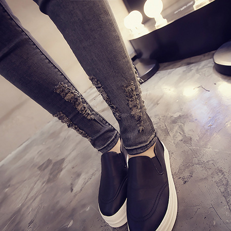 2019 Spring And Summer Korean Jeans Country Gradient Color Slim Fit Simple Slimming Skinny Pants Students High Waist Pants Women