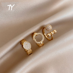 2020 New Classic Zircon Circle Open Ring For Woman Sexy Finger Accessories Fashion Korean Jewelry Wedding Party Unusual Rings