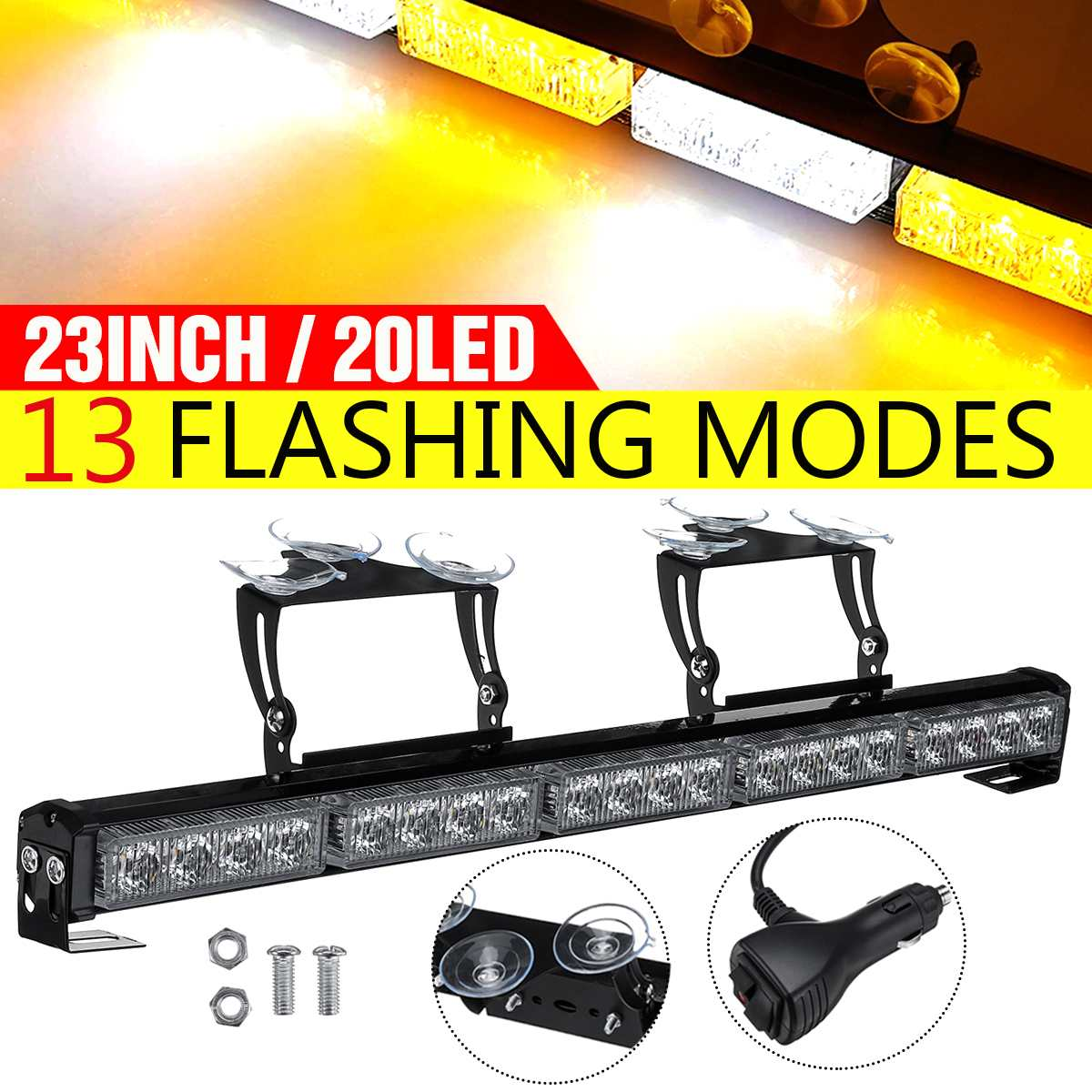 """23"""" Car Truck Emergency Warning LED Strobe Light Bar with Suction Cups and Mounting Brackets 13 Flashing Modes Emergency Lights"""