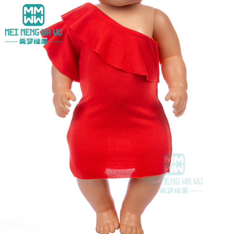 Doll Clothes Red Lotus Leaf Skirt Princess Dress For 43 Cm Toy New Born Doll Baby 18 Inch American Doll Our Generation