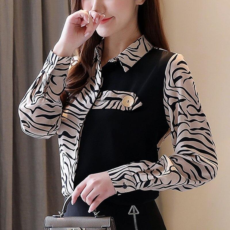 Женские топы и блузки 2020 корейская модная одежда шифоновая блузка для женщин Топы blusas рубашки на пуговицах леопардовый Черный Топ 0558