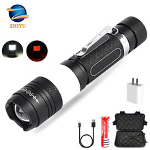 ZHIYU Led Flashlight Rechargeable 6 Lighting Modes for T6 + COB Surround Side Lights Electric Torch Camp Night Lights Lantern