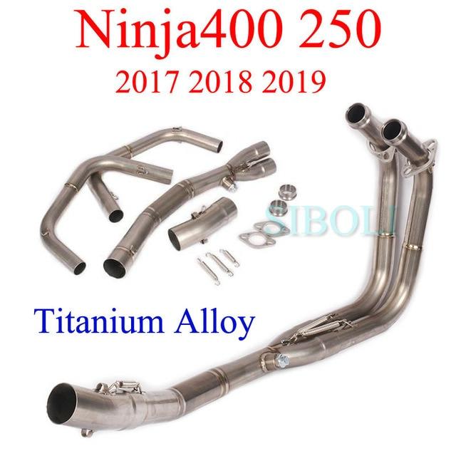 Ninja400 250 2017 2018 2019 دراجة نارية أنظمة كاملة العادم ربط الأنابيب سبائك التيتانيوم رأس الأنابيب لكاواساكي Ninja400 250