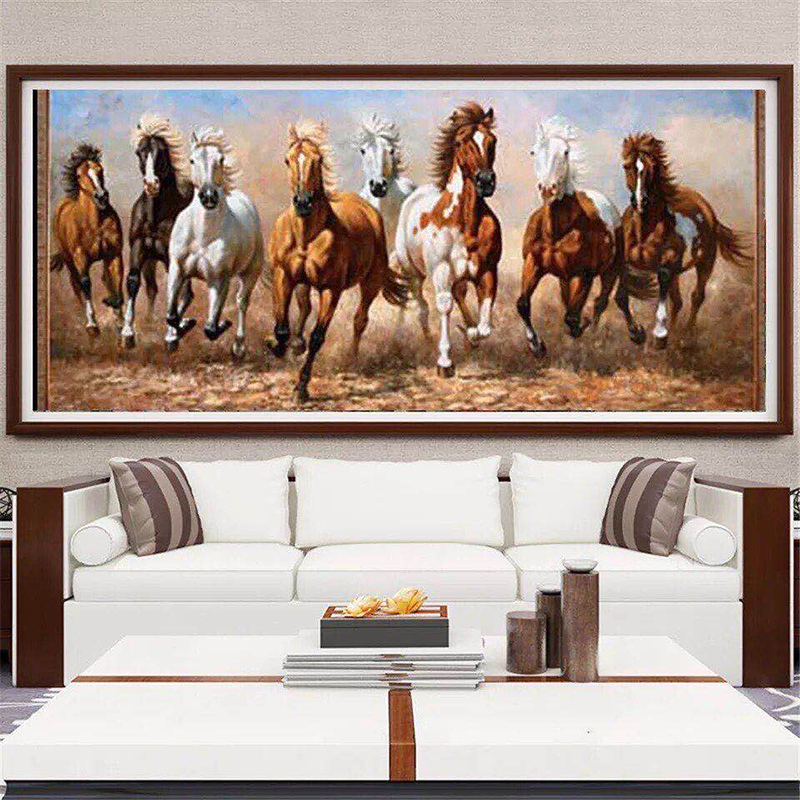Modern Canvas Painting Seven White Horses Posters Print Wall Art Picture for Living Room Bedroom Decorative Home Decor Big Size
