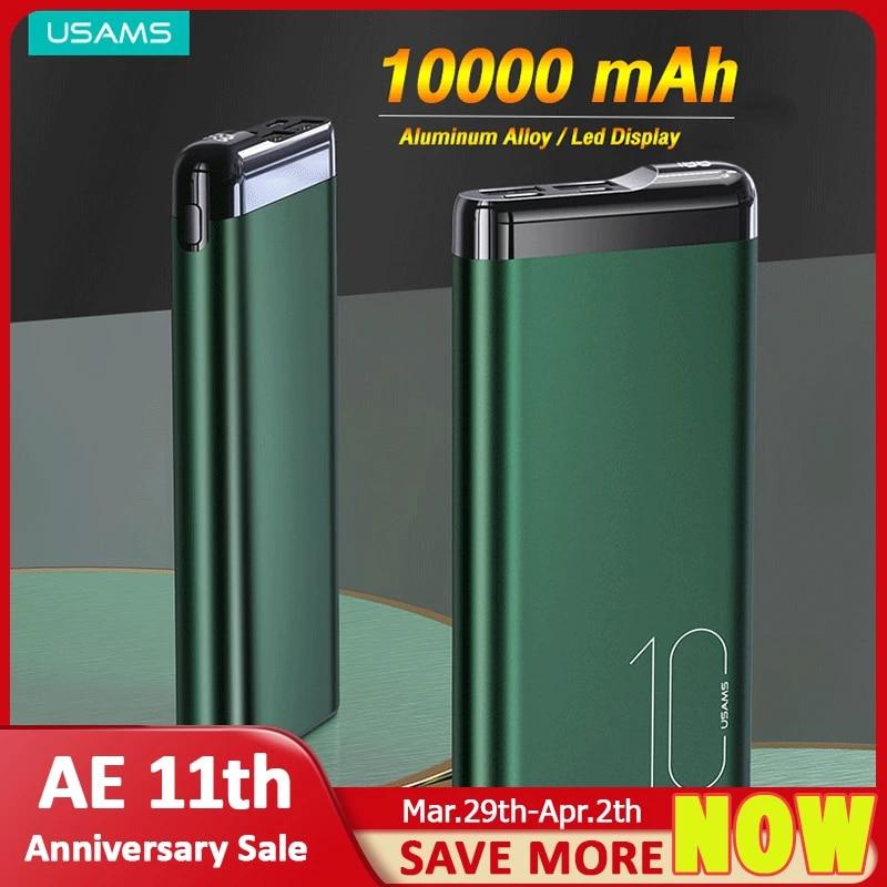USAMS Powerbank 10000mah Mini Battery Powerbank For Xiaomi Huawei Iphone 12 pro Max 11 8 USB Type C External Battery Power Bank
