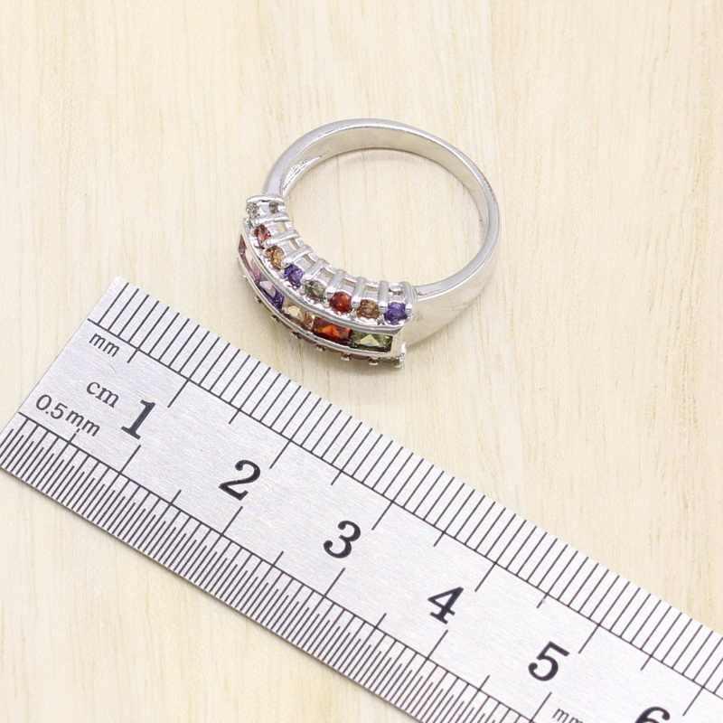 925 Sterling Silber Frauen Schmuck Sets Mehrfarbigen Kubische Zirkon Armband Geometrische Ohrringe/Anhänger/Halskette/Ring Freies Geschenk