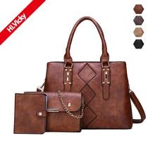 2019 New Women Bags Set 3 Pcs Leather Handbag Women Large Tote Bags Ladies Shoulder Bag Handbag Messenger Bag Purse Sac a Main стоимость