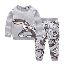 Vêtements dhiver pour enfants, ensemble de vêtements pour bébés, garçons et filles, tenue de dessin animé, imprimé motif lapin mignon, chaud