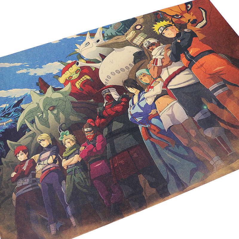 DLKKLB クラシックアニメポスターナルトヴィンテージ尾獣キャラクターコレクション寮ホームインテリアウォールステッカー装飾画