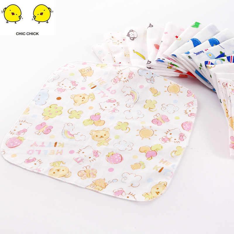 4 capas 25*25 algodón niñas niños Baberos Saliva toallas dibujos animados bebé Burp paños accesorios para bebé