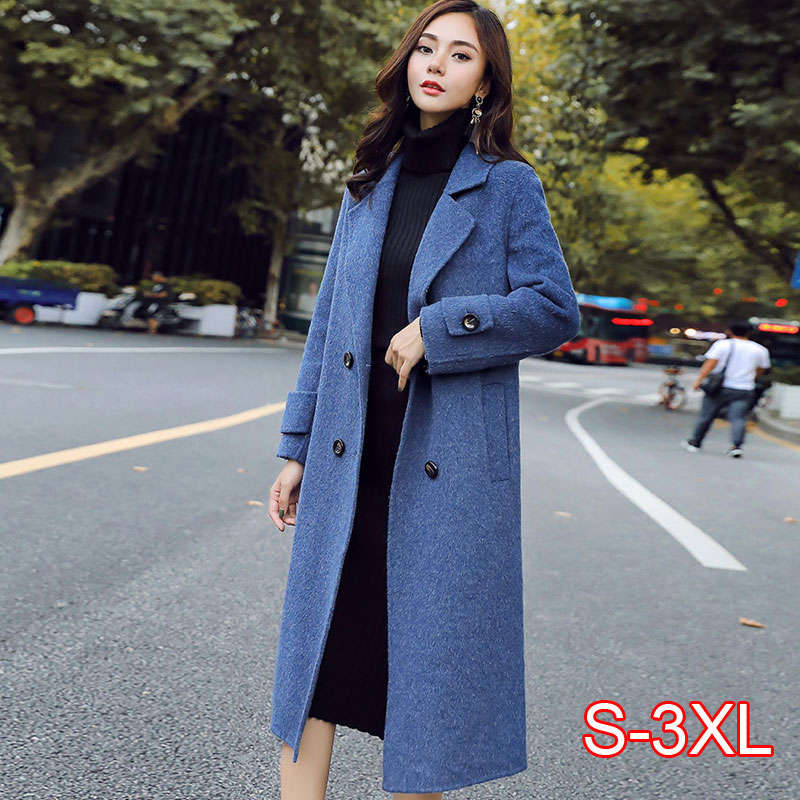 Autumn Winter Woolen Coat Women Korean Casual Ladies Long Woolen Coats Warm Clothes Femme 2019 New