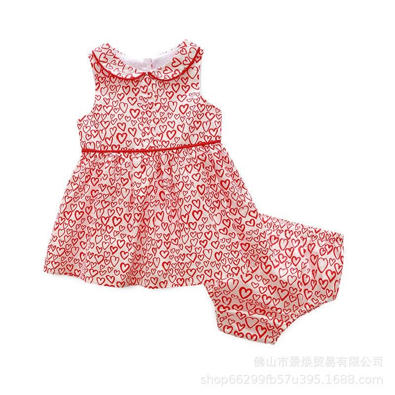 Bébé Onesie été court sans manches coeur imprimé coton gilet jupe avec sous-vêtements barboteuse Todder combinaison vêtements mode nouveau