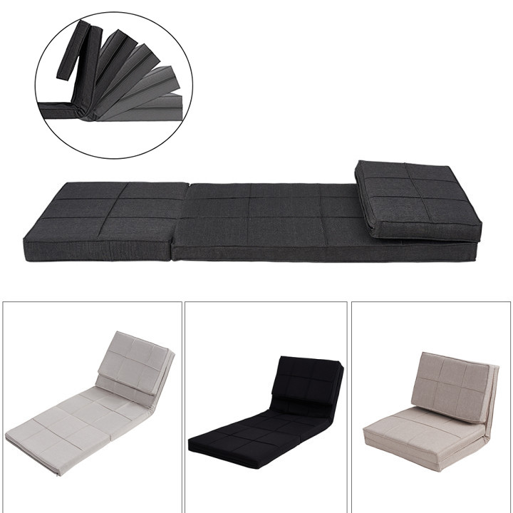 Panana 5-Position Adjustable Flip Chair W/ Metal Frame Sleeper Dorm Game Bed Couch Lounger Sofa Chair Mattress Living Room