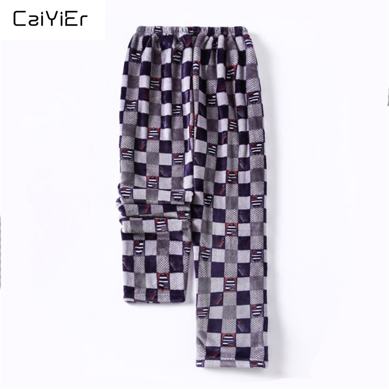 Caiyier Flannel Pajama Pants Mens Sleep Bottoms Winter Thick Warm Casual Home Wear Long Pants  Grid Stripe Sleepwear Trousers