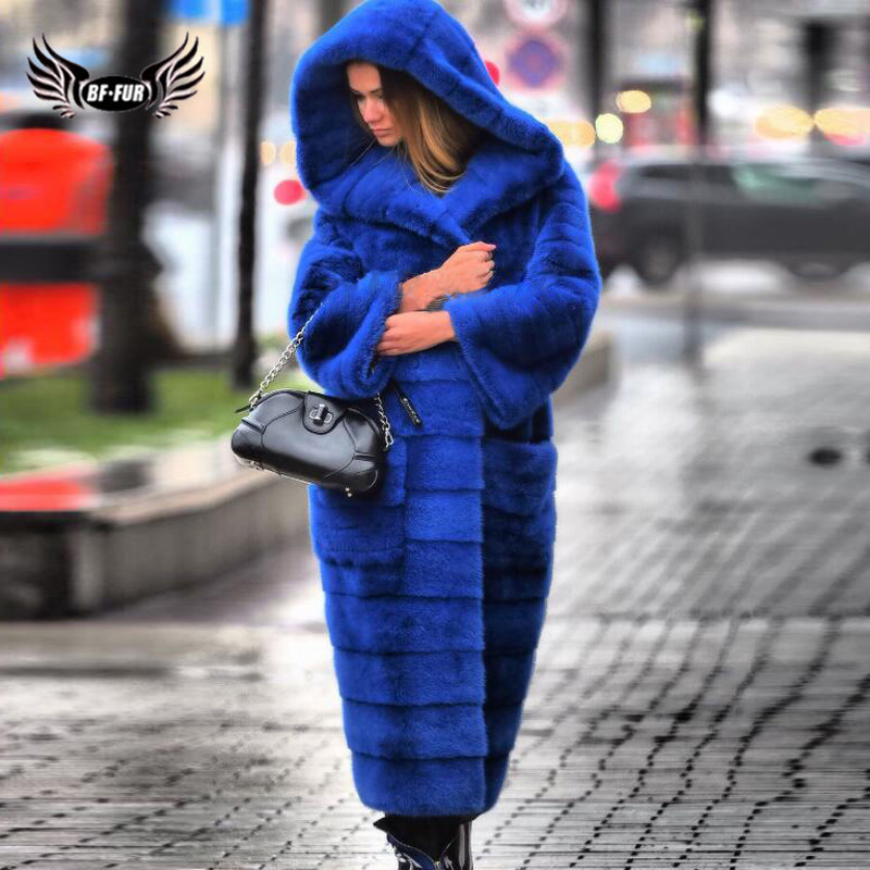 Luxury Royal Blue Hooded Mink Fur Coat For Women 120cm Long Natural Genuine Mink Fur Jacket Full Pelt Fur Coats Russian Winter