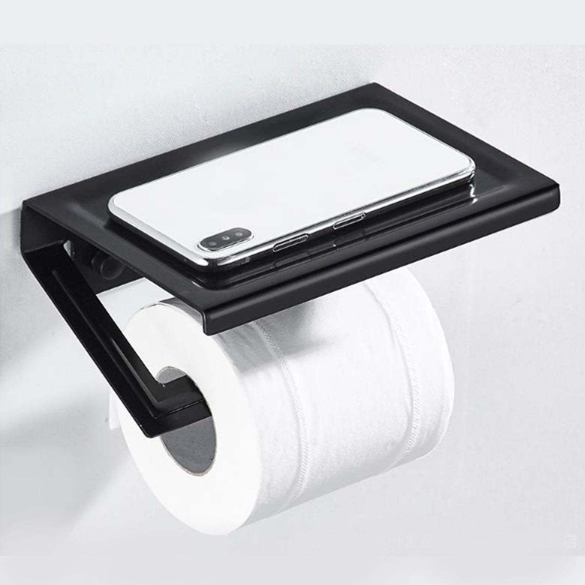 Bathroom Shelves Space Aluminum Toilet Paper Holder Bathroom Hotel Roll Paper Tissue Hanging Rack Shelf With Phone Holder
