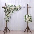 Novo casamento triângulo arranjo de flores floresta arranjo floral ao ar livre casamento fundo palco decoração arranjo