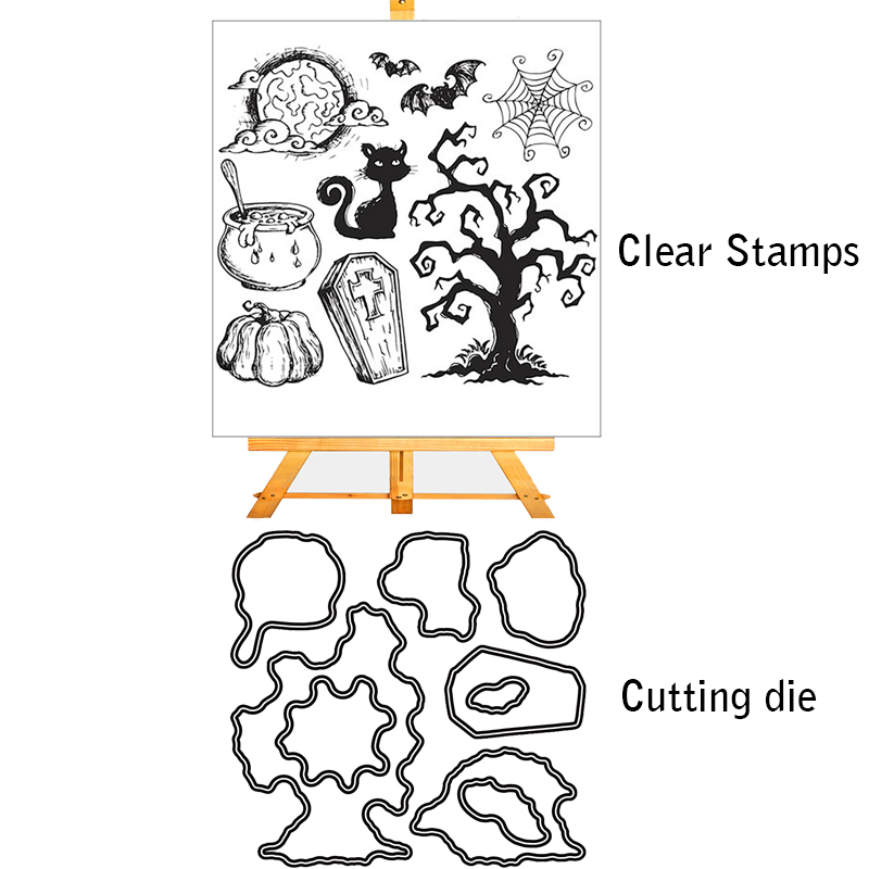 ZhuoAng Magical <font><b>Halloween</b></font> Cutting <font><b>Dies</b></font> <font><b>and</b></font> Clear <font><b>Stamp</b></font> Set for DIY Scrapbooking Photo Album Decoretive Embossing Stencial image