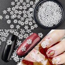 1 коробка белая Рождественская Снежинка, нейл-арта украшения ломтик Маникюр-наклейки для ногтей аксессуары для ногтей, для маникюра