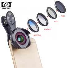 APEXEL 6in1 Phone Camera Lenses Filter Kit HD Professional Wide Angle/Macro Lens with Grad Filter CPL ND Filter for Android IOS цена и фото
