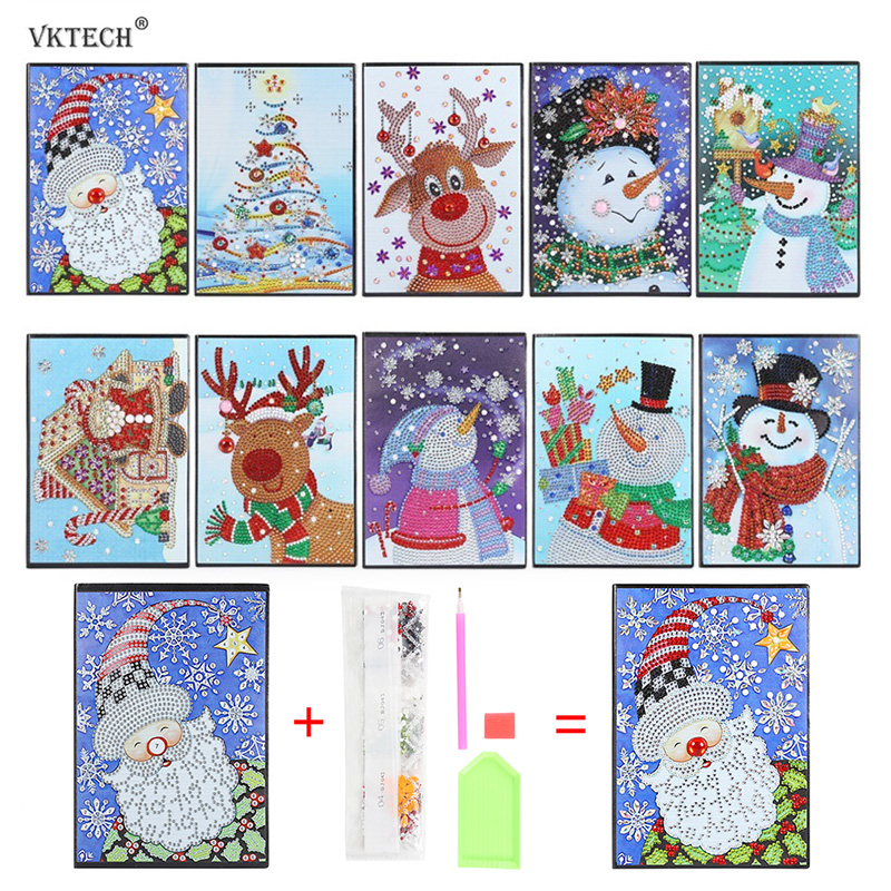 DIY Santa Claus Special Shaped Drill Diamond Painting 60Pages A5 Office Notebook