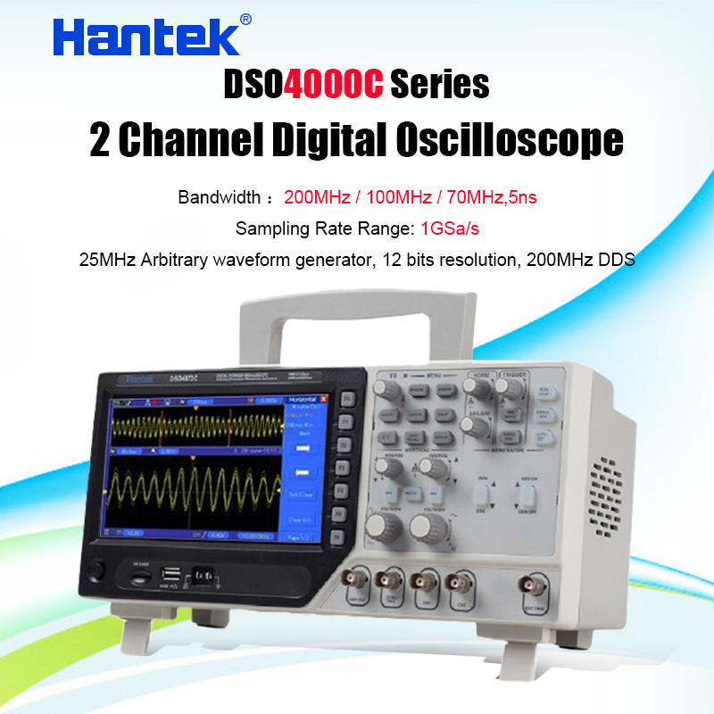 Hantek DSO4202C 2CH 200MHz Digital Storage Oscilloscope with 1Channel Arbitrary/Function Waveform Generator Factory direct sales image