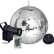 Thrisdar リモコン LED RGB ビーム Pinspot ライト反射ミラーボールライトモーターパーティー結婚式ディスコボールライト